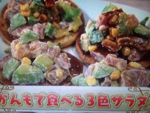 北斗晶 がんもで食べる3色サラダ