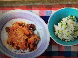 男子ごはんレシピ!牛すじとトマトのWソースカレー&たくあんのポテトサラダ