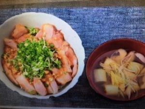 男子ごはんレシピ!ローストポーク丼&根菜としいたけのスープ