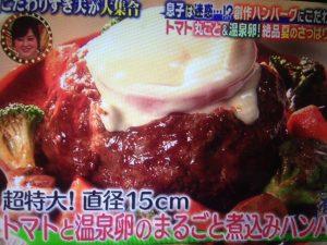 河合我聞のトマトと温泉卵の煮込みハンバーグ レシピ【有吉ゼミ】