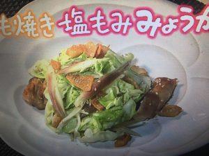 【NHKきょうの料理】鶏のもも焼き 塩もみみょうがのせ・蒸し豚と野菜のみょうがじょうゆ