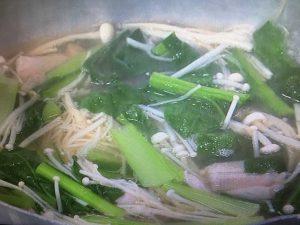3分クッキング 鶏肉と小松菜のすまし汁