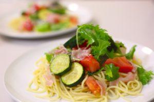 あさイチ 夏野菜の冷製パスタ レシピ。サラダ感覚で食べれる。
