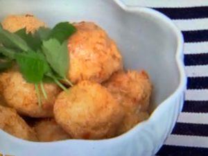 エビと鶏ひきしんじょうのそうめん揚げレシピ。おつまみにおすすめ。
