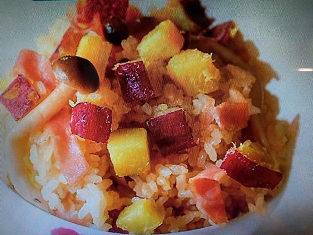 ヒルナンデス さつまいもとキノコとベーコンの炊き込みご飯 レシピ 画像